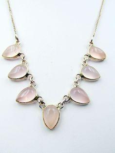 Vintage 9k Gold Hallmarked Pink Rose Quartz Necklace
