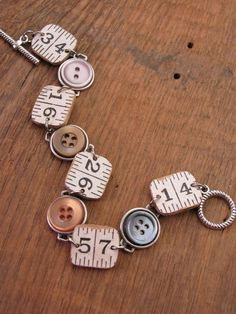 Repurposed Folding Ruler & Button Bracelet - Carpenter Ruler - Button Jewelry - Teacher's Rule - Jus upcycled jewelry Button Jewelry - Repurposed Folding Ruler & Button Bracelet - Carpenter Ruler - Teacher's Rule - Just an Inch Away - Fun, Unique Wire Jewelry, Jewelry Crafts, Jewelry Art, Beaded Jewelry, Jewelery, Vintage Jewelry, Jewelry Accessories, Fashion Jewelry, Recycled Jewelry