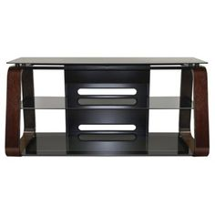 Deep Espresso Finish Curved Wood Audio/Video SystemThis dynamic audio/video stand is sure to be the center of attention in any living space. Curved Wood, Curved Glass, Media Furniture, Home Furniture, Furniture Stores, Tv Stand For Sale, Flatscreen, Tv Decor, Home Decor