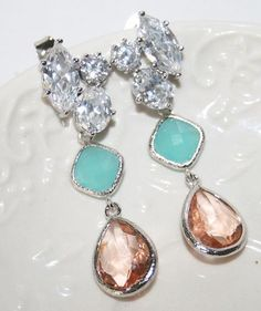Mint Peach Bridal Earrings Spring Wedding Crystal Earrings Teardrop dazzling Chandelier Earrings CZ Rhinestone Luxury Mint Peach Earrings