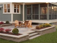 Great way to make your patio look and feel larger. Built in planting beds.