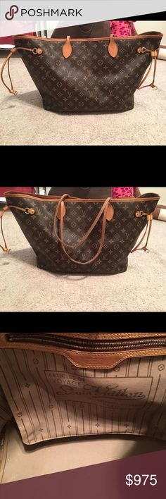 Holy Grail Louis Vuitton Neverfull GM Beautiful authentic and huge. 5yrs old (2012) and taken care of straps are dirty but no where near black like I've seen. Inside pretty clean a few water spots. Absolutely no tears or rips Will trade for a delightful GM, Metis, or large Chanel Only. I have the dust bag. I also have dogs so that means there will be dog hair on the dustbag. If any of the above bothers you pass. Price firm In no rush to sell still in use. Louis Vuitton Bags Totes
