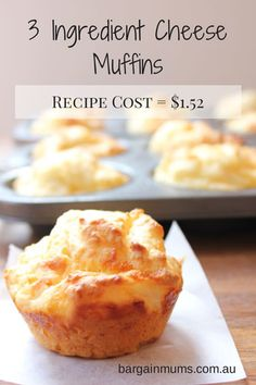 I'm in love with how simple these 3 ingredient cheese muffins are!  They only use 3 ingredients; flour, milk and cheese, but still have a great muffiny texture.