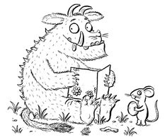 Gruffelo 2 Coloring Pages For Grown Ups, Colouring Pages, Coloring Pages For Kids, Coloring Sheets, Gruffalo Activities, Drawing Activities, Book Activities, Cute Monster Illustration, Illustration Art