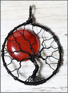 Red Full Moon Black Wire Tree of Life Pendant Fire Crack Agate Wire Wrapped..