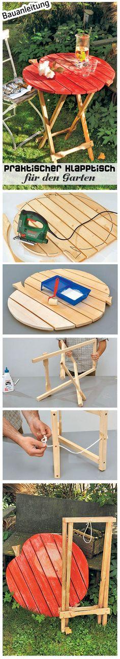Vorteil an Klappmöbeln: Wenn man sie nicht mehr braucht, nehmen sie kaum Platz weg. Auch dieser Tisch ist so ein platzsparendes Modell. Er passt perfekt in den Garten, denn die Tischplatte ist in Apfelform gesägt worden. Wir zeigen, wie man den Klapptisch selbst baut.