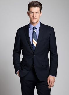 The ever-so-classic Foundation Suit in navy (also comes in grey and charcoal). A light wool option, great for the groom or groomsmen.