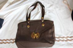 Versace bag with logo brooch (brown)