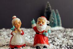 Vintage Mister and Misses Santa Claus Lefton Porcelain by Circa810
