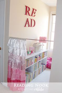 Just pull the curtain to close off the area if they pull all of the books off the shelf like my kids used to do !