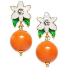 kate spade new york Gold-Tone Citrus Flower Drop Earrings (1.034.165 VND) ❤ liked on Polyvore featuring jewelry, earrings, orange, orange jewelry, kate spade earrings, multicolor earrings, flower jewelry and flower jewellery