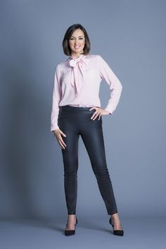 Victoria Fritz, Bbc Presenters, Tv Girls, Sexy Legs And Heels, Bow Blouse, Leather Trousers, Satin Blouses, Sexy Older Women, British Actresses