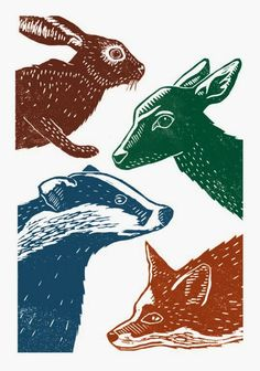Four Animals - linocut print - James Green, U.K.                                                                                                                                                      More
