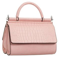 Pink faux leather grab bag shoulder bag Single handle to the top Silver tone metal detachable shoulder strap for two different looks Measurements