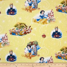 Disney Snow White with 7 Dwarves Yellow from @fabricdotcom  Designed by Disney and licensed to Springs Creative Products, this cotton print is perfect for quilting, apparel and home decor accents. Colors include blue, white, red, brown, green, purple, and yellow. Due to licensing restrictions, this item can only be shipped to USA, Puerto Rico, and Canada.