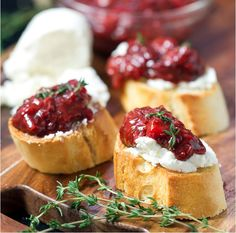 Bruschetta With Strawberry Chutney and Goat's Cheese | This is very simple to make.  I enjoyed the chutney best while it was still warm so the goat cheese warms up and gets a bit melted. Yum! @imboredletsgo