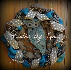 Owl Wreath  Rustic Burlap Wreath   Chevron by WreathsByJanie, $75.00