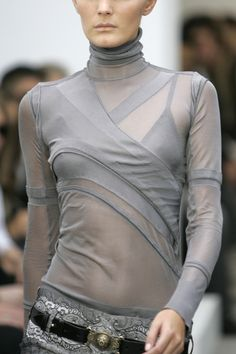Grey sheer top, sporty fashion details // Balenciaga Spring 2006