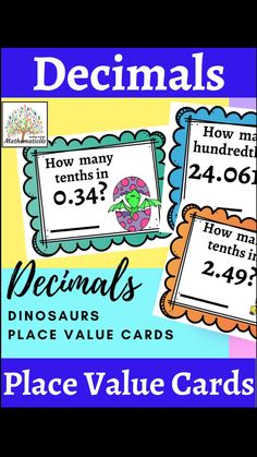 Dinosaur Activities, Math Activities, Place Value Cards, Rounding Decimals, Place Value With Decimals, Primary Maths, Early Math, Place Values
