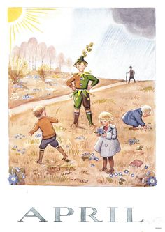 Elsa Beskow (née Maartman) February Stockholm – 30 June was a Swedish author and illustrator of children's books Elsa Beskow, Images Vintage, Vintage Pictures, Vintage Postcards, Vintage Art, Vintage Roses, Months In A Year, 12 Months, Illustrations And Posters