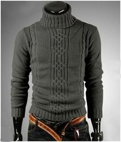 Men's Cable Knit Turtle Neck