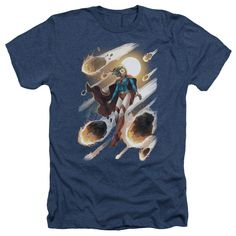 JLA/Supergirl #1 Adult Heather T-Shirt in Navy