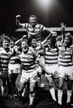 Celtic celebrate winning the league.