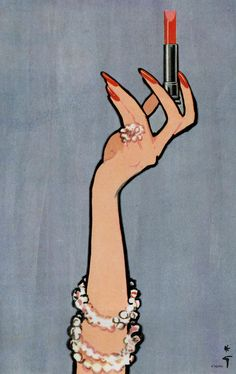 rene gruau lipstick ad illustration