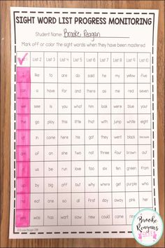 Tracking student's mastery of sight words with this easy to each tracking system. These are a list of regularly used sight words in groups of 10 words per list. Preschool Prep, Kindergarten Readiness, Homeschool Kindergarten, Preschool Learning, Learning Activities, Kindergarten Sight Words List, Homeschooling, Preschool Sight Words, List Of Sight Words