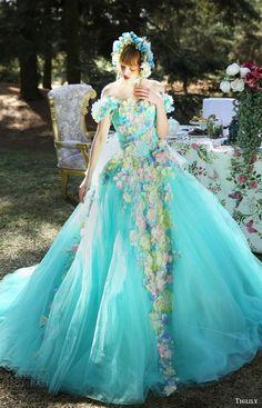 tiglily bridal 2016 off shoulder sweetheart ball gown wedding dress (grace) mv aqua color floral applique romantic fantasy -- Tiglily Spring 2016 Wedding Dresses