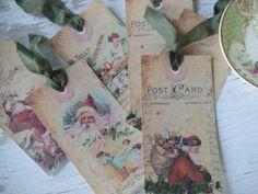 Christmas Tags - santa tags - christmas - shabby chic - christmas notecards