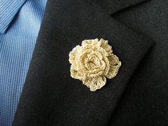 Silk Lapel Flower  Light Gold Rose Lapel Pin  Men by MayCheang