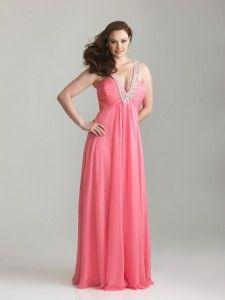 elegante chiffon warm roze Bruidsmeisjekleding Grote maten lang 2013 stijl 6791w