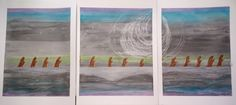 Monks on the Moor is a tryptic painting taking up three panels.  Watercolor…
