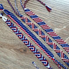 Friendship bracelet-4th of July bracelet by PoplarFriendBracelet