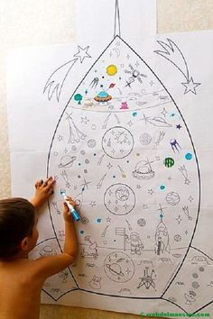 póster gigante- Space Solar System, Solar System Projects, Space Party, Space Theme, Space Activities, Toddler Activities, Projects For Kids, Crafts For Kids, Space Classroom