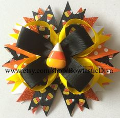 Candy Corn Hair bow, Halloween Hair Bow, Fall Hair Bow Halloween Hair Bows, Making Hair Bows, How To Make Hair, Candy Corn, Fall Hair, Ribbon Bows, Hair Jewelry, Headbands, Unique Jewelry