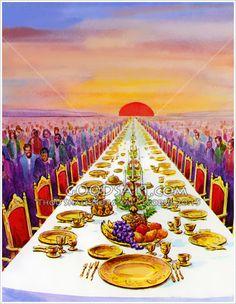 Marriage Supper of the Lamb, Bride of Christ. Pictures Of Jesus Christ, Bible Pictures, Heaven Pictures, Arte Judaica, Heaven Art, Bibel Journal, Jesus Second Coming, Jesus Christus, Bible Illustrations