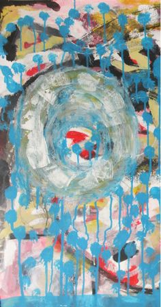 """Detail original #abstract #painting """"blue"""" acrylic and gesso on paper #marinadewit"""