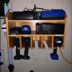 Power Tool Organizer, Sunix Power Tool Charging Station Drill Wall Holder Wall Mount Tools Garage Storage (Power Strip is Not Included) – Power Tools On Sale Tool Wall Storage, Power Tool Storage, Garage Storage Shelves, Power Tools, Diy Storage Projects, Wood Shop Projects, Woodworking Projects Diy, Woodworking Workshop, Woodworking Tools