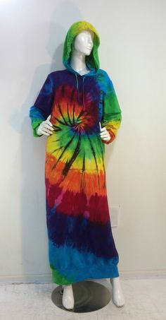 Size XL rainbow tie dyed hoodie sweatshirt dress lounger robe in bamboo/cotton/spandex fleece. by qualicumclothworks on Etsy