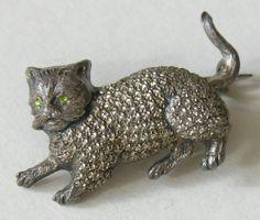 Victorian Cat Sterling Brooch