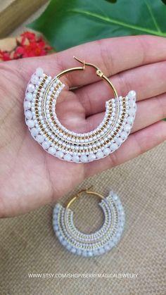 Seed Bead Jewelry, Bead Jewellery, Beaded Jewelry, Beaded Bracelets, Beaded Earrings Patterns, Bead Earrings, Jewelry Patterns, Crochet Earrings, Earrings Handmade