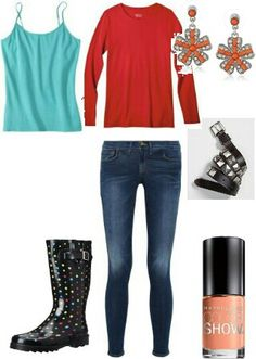 Rain boots + Bare Minerals orange polish