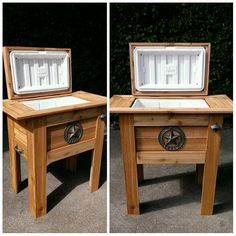 Wooden Rustic Coolers w Igloo Ice Chest Built in on Etsy, $225.00---perfect gift for my hubby.