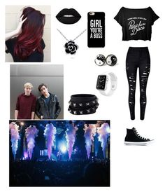 """PATD concert with Sam and Colby"" by joanaoliveira-ii ❤ liked on Polyvore featuring Converse, Apple, Lime Crime and Valentino"