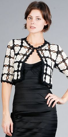 Black and White Crochet Bolero Crochet Jacket Pattern, Gilet Crochet, Crochet Coat, Crochet Cardigan, Crochet Shawl, Crochet Clothes, Crochet Stitches, Crochet Granny, Mode Crochet