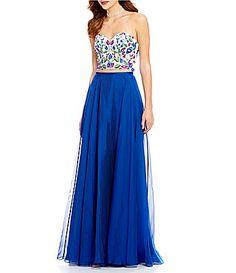 Ellie Wilde Strapless Embroidered Top TwoPiece Long Dress #Dillards