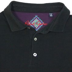 Robert Graham Black Polo Shirt Mens L Embroidered Knowledge Wisdom Truth Pique  #RobertGraham #PoloRugby