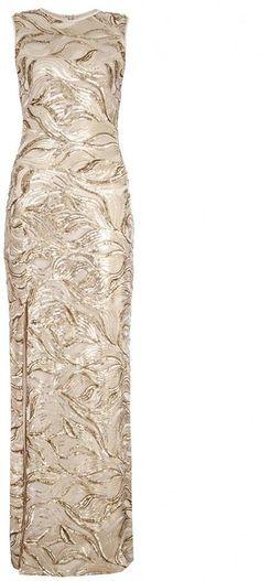 Gold Sequin Leaf Split Front Maxi #Dress